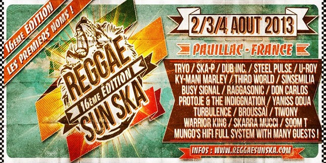 Reggae Sun Ska 2013 - Les premiers noms
