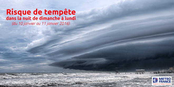 Fort risque de tempête dans la nuit du 10 au 11 janvier 2016